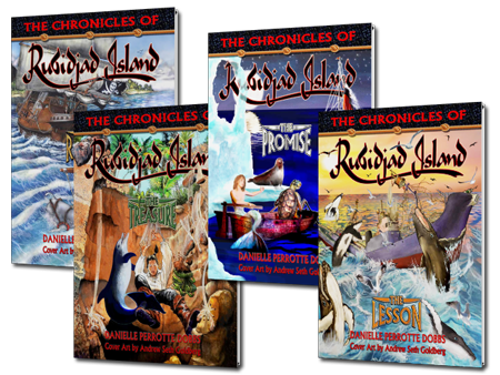 Picture of the four books of The Chronicles of Rubidjad Island